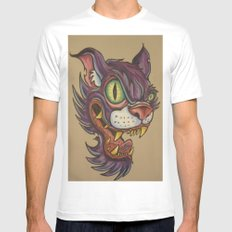 mean cat MEDIUM Mens Fitted Tee White