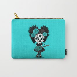 Teal Blue Big Eyes Sugar Skull Girl Playing the Guitar Carry-All Pouch