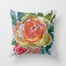 Pale Yellow Roses Watercolor Art Throw Pillow