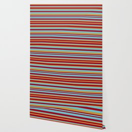 Golden, Red Wine and Turquoise Vintage Stripes Wallpaper