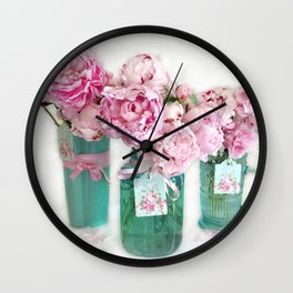 Romantic Shabby Chic Cottage Pink Aqua Watercolor Peonies Print Home Decor Wall Clock
