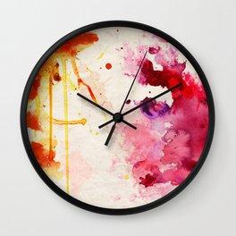 Fuchsia & Orange Color Splash Wall Clock
