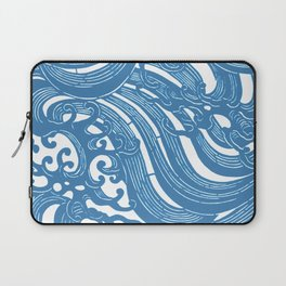 Stencil with Pattern of Waves,19th century Japan (Edited Blue) Laptop Sleeve
