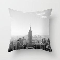 Manhattan - Empire State Building Panorama | B/W Throw Pillow