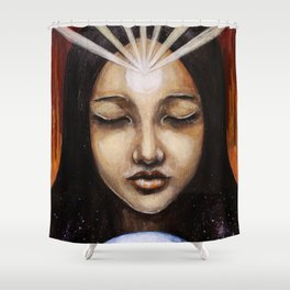 Shine Your Light for the World to See // Visionary Art Spirit Soul Consciousness Chakra Third Eye Shower Curtain
