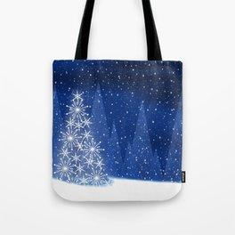 Snowy Night Christmas Tree Holiday Design Tote Bag