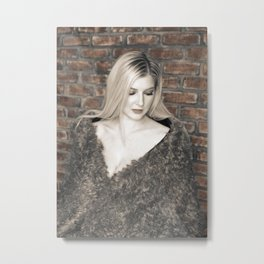 Alyssa in Wintery Faux Fur Metal Print