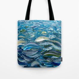 Original Oil Painting With Palette Knife On Canvas  Impressionist Roling Blue Sea Waves by OLena Art Tote Bag