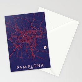 Pamplona, Spain, Blue, White, City, Map Stationery Cards