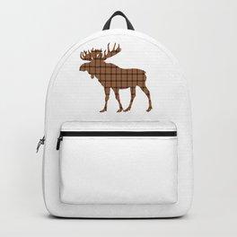 Plaid Moose: Brown Backpack