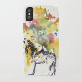 Howling Wolf in Splash of Color iPhone Case