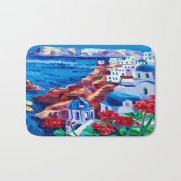 Santorini churches Bath Mat
