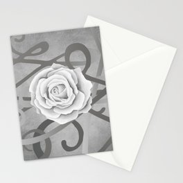 GREY MATTER / WHITE ROSE Stationery Cards