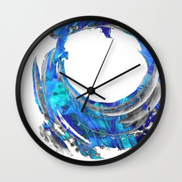 Blue and White Contemporary Art - Swirling 2 - Sharon Cummings Wall Clock