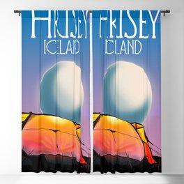Hrísey Iceland travel poster Blackout Curtain