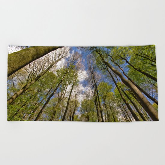 looking up to the trees in the forest Beach Towel