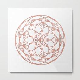 Rose Gold Mandala Flower on White II Metal Print