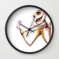 jack skellington Wall Clocks featuring Jack Skellington by Leanne Engel
