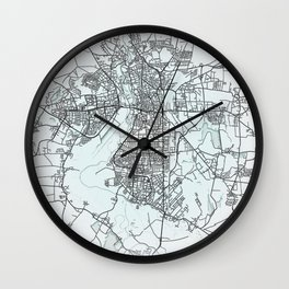 Halle, Germany, White, City, Map Wall Clock