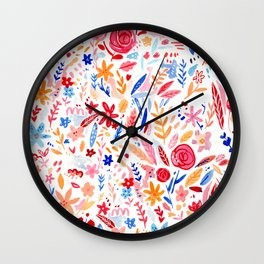Colourful sketchy florals Wall Clock