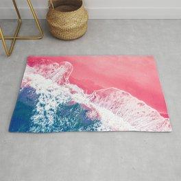 Aerial Pink Beach Rug