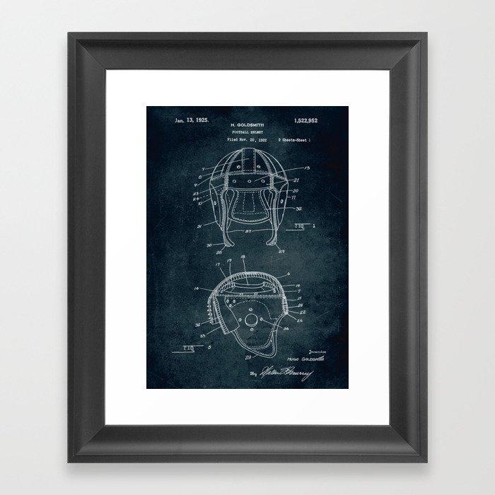 1922 - Football Helmet patent art Gerahmter Kunstdruck