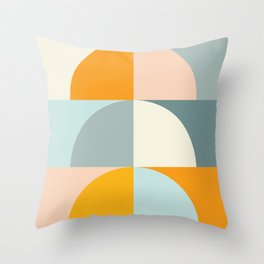 Summer Evening Geometric Shapes in Soft Blue and Orange Throw Pillow