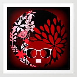 Afro Diva : Sophisticated Lady Red Art Print