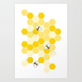 Honey Bee Pattern Art Print