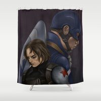 winter soldier Shower Curtains featuring The Soldier and the Captain. by toibi