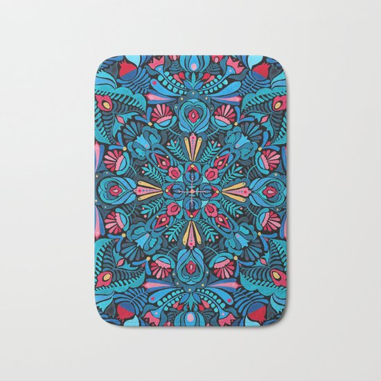 Pink, light blue floral mandala on black Bath Mat