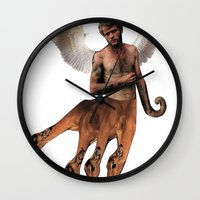 hydra Wall Clocks featuring HYDRA PAN by Michael Angelo Galasso
