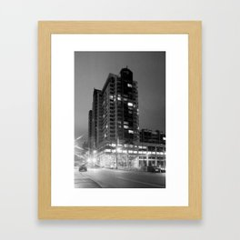 Downtown Bellevue at Night - In Black & White Framed Art Print
