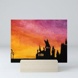 Hogwarts Watercolor sunset Mini Art Print