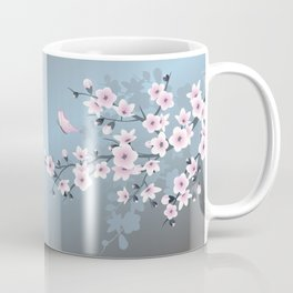Dusky Pink Grayish Blue Cherry Blossom Coffee Mug