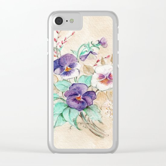 Pansies Bouquet Clear iPhone Case