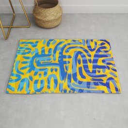 African Abstract Graffiti Art Yellow And Blue Rug