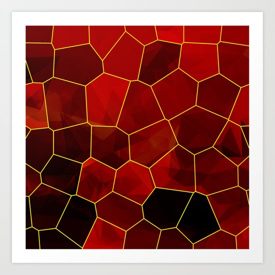 Stained Glass Polygons (Red & Gold) Art Print
