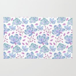 Hand painted pink teal lilac watercolor floral pattern Rug