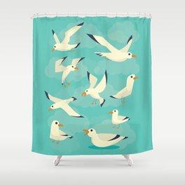 Vintage Seagulls Sketchbook Style Shower Curtain