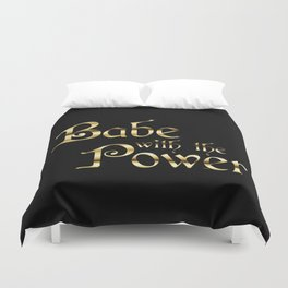 Labyrinth Babe With The Power (black bg) Duvet Cover