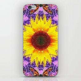 ABSTRACTED PURPLE-GOLD  SUNFLOWER ART iPhone Skin