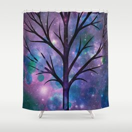 Tree in a fairy-like blue lilac sparkle spring night Shower Curtain