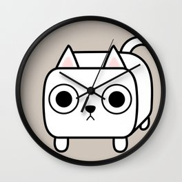 Cat Loaf - White Kitty Wall Clock