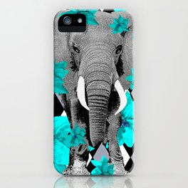 ELEPHANT and HARLEQUIN BLUE AND GRAY iPhone Case