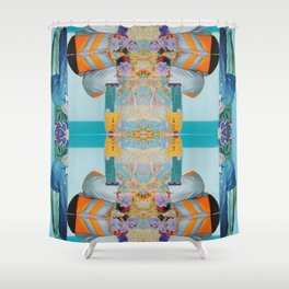 he wore mesh and she, puffy sleeves - a modern collage in blue and orange Shower Curtain