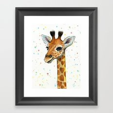 Giraffe Baby Animal with Hearts Watercolor Cute Whimsical Animals Nursery Framed Art Print