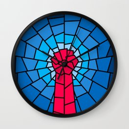 Church of the Revolution / Fist raised in protest on stained glass window Wall Clock