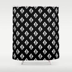 Linocut scandinavian minimal black and white trees camping pattern minimalist art Shower Curtain
