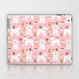 Bichon Frise coffee latte mocha lover cafe dog portrait gifts for dog lovers with bichons Laptop & iPad Skin